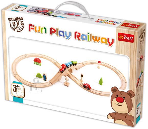 Trefl Wooden Toys lõbus raudteemäng