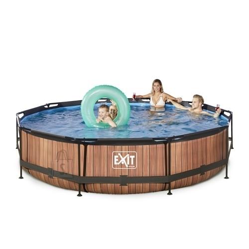 Exit EXIT Wood pool ø360x76cm with filter pump - brown Framed pool Round 6125 L