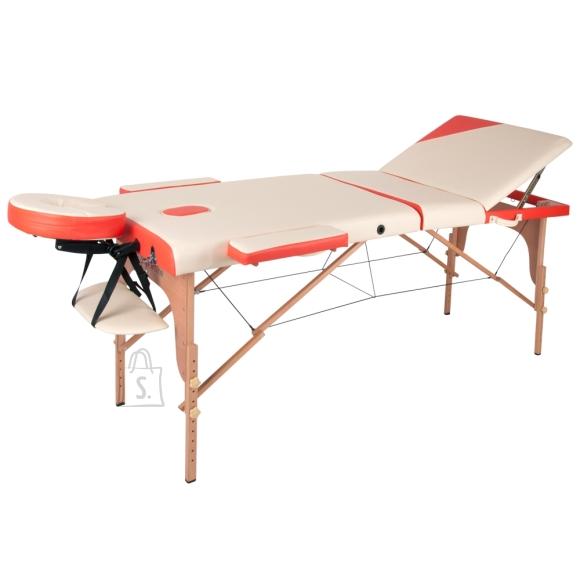 inSPORTline Massage Table inSPORTline Japane 3-Piece Wooden - White-Orange