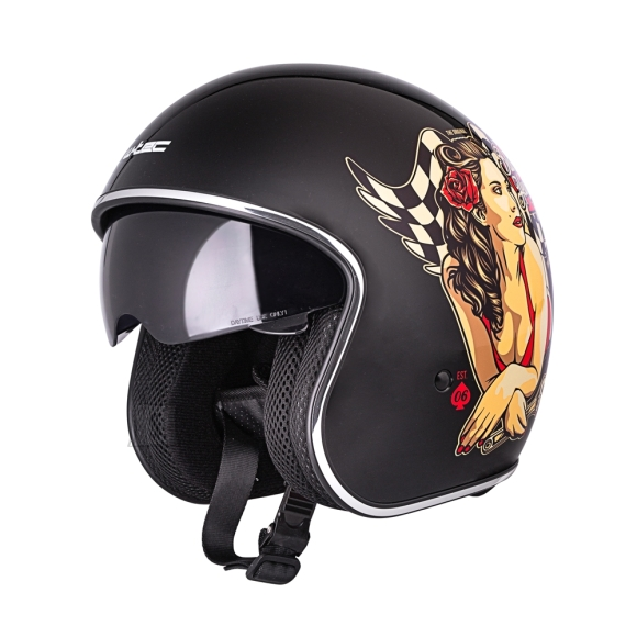 W-Tec Motorcycle Helmet W-TEC V537 Black Heart - Hot Rod Angel Sheen XL (61-62)