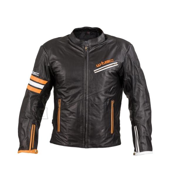 W-Tec Leather Motorcycle Jacket W-TEC Brenerro - Black-Orange-White L