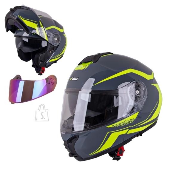 W-Tec Flip-Up Motorcycle Helmet W-TEC FS-907 P/J - Grey-Fluorescent Yellow XL (61-62)