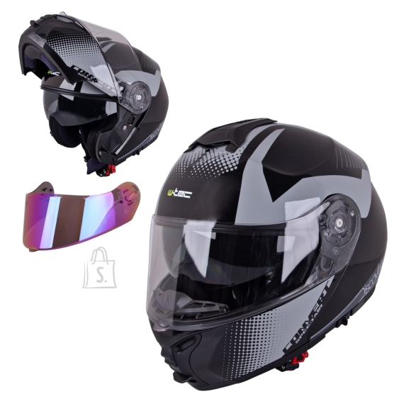 W-Tec Flip-Up Motorcycle Helmet W-TEC FS-907 P/J - Gunmetal Antracite XXL (63-64)