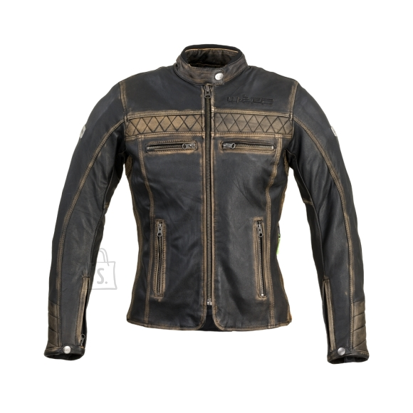 W-Tec Women???s Leather Motorcycle Jacket W-TEC Kusniqua - Vintage Brown L