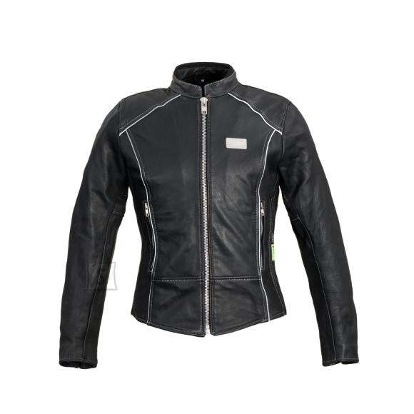 W-Tec Women???s Leather Motorcycle Jacket W-TEC Hagora - Matte Black S