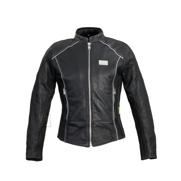 W-Tec Women???s Leather Motorcycle Jacket W-TEC Hagora - Matte Black L