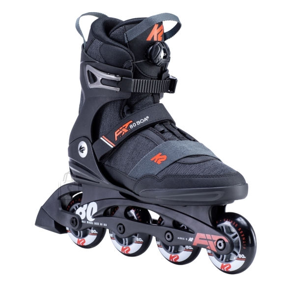 """K2 <p style=""""text-align: justify;"""">The<strong>??Rollerblades K2 F.I.T. 80 BOA 2020??</strong>are solid rollerblades for skaters who want to feel safe and comfortable during the ride. The composite frame absorbs vibrations and provides ankle support. The shoe is made of special??<strong>K2 Softboot????</strong>material, which is soft, comfortable and breathable. This model also features the unique??<strong>BOA</strong><strong>??</strong>??closure system which allows for easy tightening ??? all you have to do is turn the knob on the front side of the tongue. Since you do not have to bother with tying laces or tightening buckles, the entire process takes up only a few seconds.??The??<strong>80mm??</strong>wheels and high-quality??<strong>ABEC 5</strong>??bearings provide excellent riding characteristics.??The??<strong>Rollerblades K2 F.I.T. 80 BOA 2020??</strong>were designed for recreational and fitness skating.</p><br/><p><strong>Technical description:</strong></p><br /> <ul><br /> <li>High-quality fitness rollerblades</li><br /> <li>Unique??<strong>BOA</strong><strong>??</strong>??closure system with regulation knob allows for quick and easy tightening??</li><br /> <li>Solid??<strong>F.B.I. composite frame</strong>??which absorbs vibrations</li><br /> <li>Comfortable and breathable shoe material ?????<strong>K2 Softboot??</strong></li><br /> <li>Buckles</li><br /> <li>Compatible with larger wheels</li><br /> <li>Loop for easy pull on</li><br /> <li><strong>Lacing:</strong>??BOA</li><br /> <li><strong>Shell:</strong>??Stability Plus</li><br /> <li><strong>Frame:</strong>??F.B.I.</li><br /> <li><strong>Bearings:</strong>??ABEC 5</li><br /> <li><strong>Wheel material:</strong>??PU rubber</li><br /> <li><strong>Wheel hardness:</strong>??80A</li><br /> <li><strong>Wheel size:</strong>??80 mm</li><br /> <li><strong>Max wheel size:</strong>??90 mm</li><br /> </ul><p><strong>Velikostn?? tabulka:</strong></p><br /> <br /> <table border=""""1"""" cellpadding=""""1"""" cellspacing=""""1""""><br"""