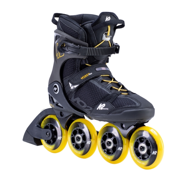 """K2 <p style=""""text-align: justify;"""">The??<strong>Rollerblades K2 VO2 S 90 M??</strong>of the??<strong>X-Training</strong>??series will make your training more diverse. The??<strong>patented one-sided</strong>??frame allows for better transfer of energy from the feet to the skates and offers 20-percent better shock absorption. This way, the??<strong>90mm wheels</strong>??are only on one side of the frame. Moreover, made of aluminum alloy, the frame is extremely light, creating the perfect balance of speed, stability and support.??<strong>K2???s Vortech Ventilation System</strong>??was designed to keep the feet cool and dry. These skates are all about speed. That???s why they feature top-class??<strong>ILQ Classic Plus</strong>??bearings and the??<strong>Speed Lacing</strong>??system that allows you to tie the shoe in one motion. Strap the??<strong>Rollerblades K2 VO2 S 90 M??</strong>on and skate away!</p><br/><p><strong>Technical description:</strong></p><br /> <ul><br /> <li>Top-class training rollerblades with unique frame</li><br /> <li>Designed for women???s feet</li><br /> <li>Patented one-sided frame for better energy transfer</li><br /> <li>Lightweight??<strong>aluminum frame</strong>??for easy maneuvering</li><br /> <li>20-percent better shock absorption on uneven surfaces</li><br /> <li><strong>K2 Vortech</strong>??ventilation system</li><br /> <li><strong>Speed Lacing</strong>??closure system that allows you to tie shoe in one motion</li><br /> <li><strong>One of best TwinCam bearings</strong></li><br /> <li>Comfortable??<strong>K2 SoftBoot</strong>??with integrated lining</li><br /> <li>Shoe adjusts to shape of foot</li><br /> <li>Loop for easy pull on</li><br /> <li><strong>Lacing:</strong>??Speed Lacing</li><br /> <li><strong>Shell:</strong>??VO2</li><br /> <li><strong>Frame:</strong>??VO2 S</li><br /> <li><strong>Bearings:</strong>??ILQ 9 Classic Plus</li><br /> <li><strong>Wheel material:</strong>??PU rubber</li><br /> <li><strong>Wheel hardness:</stro"""