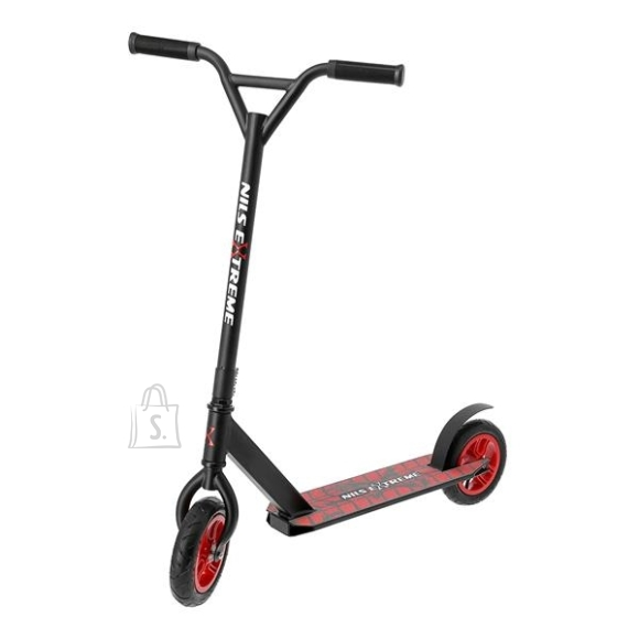Nils Extreme <div><br /> <p>HC020 Nils Extreme is a scooter designed for children, teenagers and adults.&nbsp;The maximum user weight is 100 kg.&nbsp;The frame and the steering wheel are made of strong and durable steel.&nbsp;The HC020 is a combination of a stunt scooter and an off-road scooter because it has pneumatic wheels.&nbsp;This makes it possible to perform tricks on various surfaces. HC020, will be perfect for asphalt surfaces, but also in the field thanks to its pumped wheels.&nbsp;Wheels with a size of 200 mm and ABEC9 class bearings allow for optimal equipment performance, and thus excellent efficiency in operation.&nbsp;In turn, the rear foot brake ensures maximum safety of use and allows you to stop the scooter immediately.&nbsp;Customers choosing this model pay attention to its durability and ease of use.&nbsp;Thanks to the use of the highest quality materials, the Nils Extreme scooter is almost impossible to destroy.</p><br /> <br /> <p>HC020 is a stunt, i.e. a stunt scooter, but it is also equipped with inflatable wheels atypically.&nbsp;This gives you double possibilities, driving on uneven surfaces and performing tricks.&nbsp;The stunt scooter does not have a folding mechanism or a handlebar height adjustment system- such solutions could weaken the entire structure, which is obviously not desirable in the case of competition equipment.&nbsp;Durability is the basis for this type of scooters.&nbsp;The equipment is heavily loaded when performing tricks.&nbsp;Thanks to the use of the most durable materials, the stunts will be carried out without fear of a possible failure.&nbsp;The scooter bar rotates 360 degrees, which makes it easier to perform tricks.&nbsp;An important element is also a non-slip platform, which significantly increases safety during very dynamic driving. HC020 Nils Extreme is a great choice for both beginners and more advanced users.</p><br /> </div><br /> <br /> <div><br /> <p><strong>Specification:</strong></p><br /> <br /> <ul><b