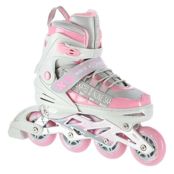 Nils Extreme <div><br /> <p>NA1186 Nils Extreme is a model of inline skates intended for beginners and intermediate enthusiasts of skating.&nbsp;It is a combination of an interesting design with the highest quality materials that guarantee a very high comfort of use. The shoe is made of synthetic leather, EVA material, MESH mesh and high-density foam.&nbsp;Thanks to this, the ride will be extremely comfortable.&nbsp;ABEC7 class bearings provide high quality traction.</p><br /> <br /> <p>Soft wheels guarantee good adhesion to the ground and absorb all vibrations well.&nbsp;Fastening the shoe with a two-section buckle, Velcro and laces ensures maximum safety while driving, while the brake made of the highest quality PP, resistant to impacts, will cause a safe stop, even at relatively high speeds. The possibility of size adjustment facilitates quick adjustment to the user's foot, thanks to which inline skates will be used for many seasons!</p><br /> </div><br /> <br /> <div><br /> <p><strong>Specification:</strong></p><br /> <br /> <ul><br /> <li>Inline skates: aluminum</li><br /> <li>Bearings: ABEC7</li><br /> <li>Material:<br /> <ul><br /> <li>Mesh</li><br /> <li>EVA</li><br /> <li>VELVET</li><br /> <li>Synthetic leather</li><br /> <li>High-density foam</li><br /> </ul><br /> </li><br /> <li>Colic:<br /> <ul><br /> <li>PU64 mm/82A (S 31-34)</li><br /> <li>PU72 mm/82A (M 35-38)</li><br /> <li>PU76 mm/82A (L 39-42)</li><br /> </ul><br /> </li><br /> <li>Clasp:<br /> <ul><br /> <li>Two-section buckle</li><br /> <li>Velcro strap</li><br /> <li>Lacing</li><br /> </ul><br /> </li><br /> <li>Inner shoe length: 250-271 mm</li><br /> <li>Brake: Impact resistant PP</li><br /> <li>Not intended for commercial use</li><br /> <li>Certificates, standards: CE</li><br /> <li>Warranty 24 months</li><br /> </ul><br /> </div><br /><br />Fastening: Lacing<br />Size: PU70 mm/82A (S 31-34)<br />Bearings: ABEC7<br />Material: EVA<br />Brake: impact resistant PP<br />Warranty: 24 months<br /