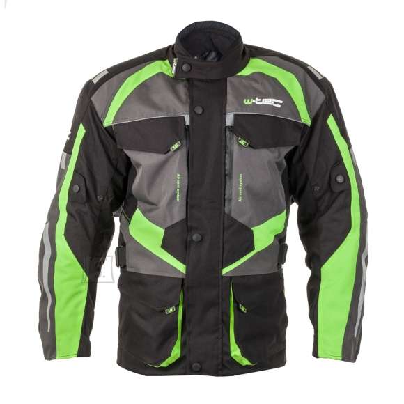 W-Tec Men???s Moto Jacket W-TEC Burdys GS-1613 - Black-Grey-Green WXL