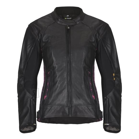 W-Tec Women's Leather Motorcycle Jacket W-TEC Caronina NF-1174 - Black-Pink 2XS