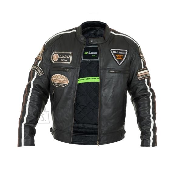 W-Tec Men???s Leather Motorcycle Jacket W-TEC Sheawen - Black S