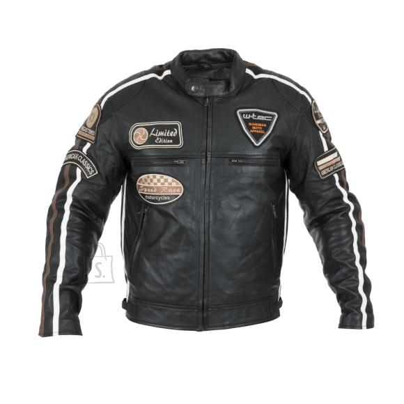 W-Tec Men???s Leather Motorcycle Jacket W-TEC Sheawen - Black L