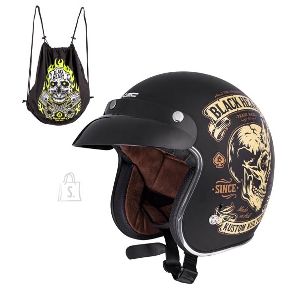 W-Tec Motorcycle Helmet W-TEC Kustom Black Heart -  Skull Horn  Black S(55-56)