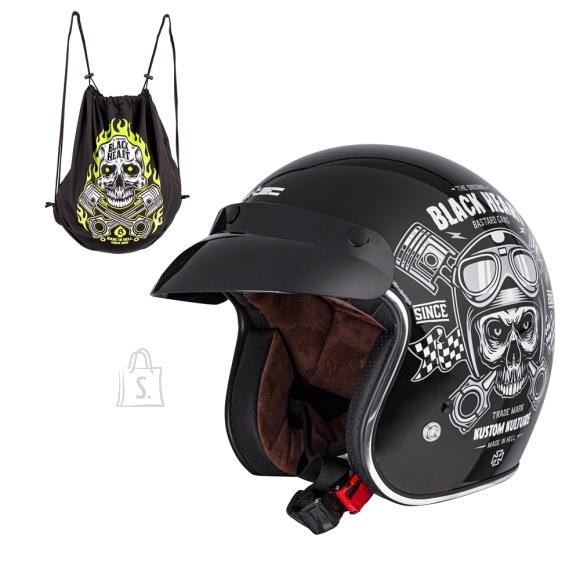 W-Tec Motorcycle Helmet W-TEC Kustom Black Heart -  Skull  Black M (57-58)