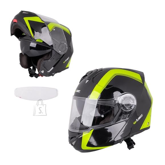 W-Tec Flip-Up Motorcycle Helmet W-TEC Vexamo V270 PP - Black-Green S(55-56)