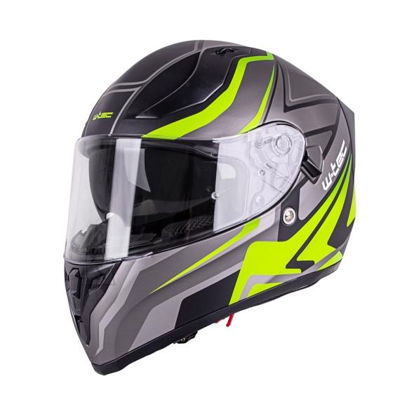 W-Tec Integral Motorcycle Helmet W-TEC Vintegra Graphic - Black-Fluo Yellow L(59-60)