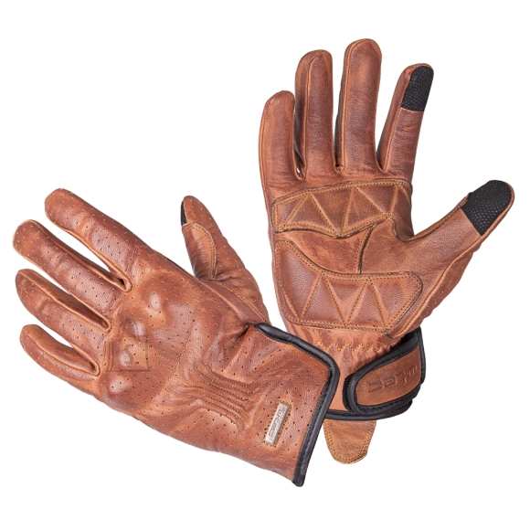 W-Tec Leather Motorcycle Gloves W-Tec Dahmer - Dark Brown XXL