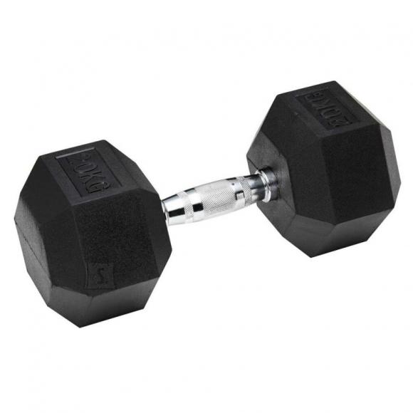 Hexagon Rubber Coated Dumbbell Bauer Fitness - 32,5 kg