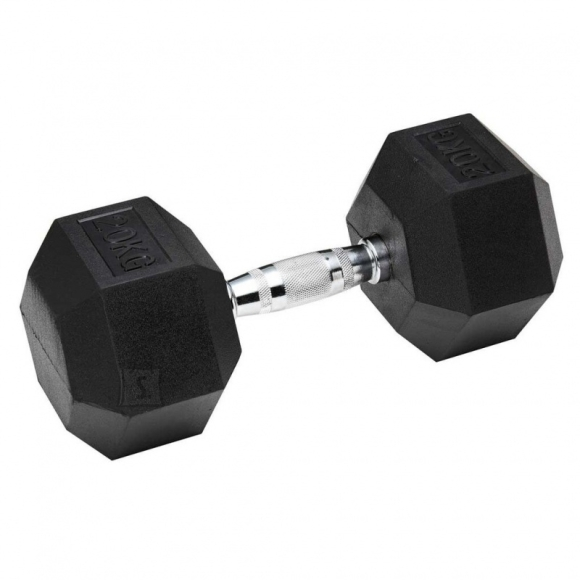 Hexagon Rubber Coated Dumbbell Bauer Fitness - 37,5 kg