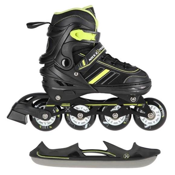 Nils Extreme In-Line Skates/Hockey Ice Skates Nils Extreme NH18191 2in1 Black-Lime - S(29-33)