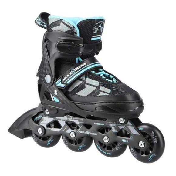 """Nils Extreme <p style=""""margin-left:0px; margin-right:0px; text-align:left"""">NA11002 Nils Extreme is a model of roller skates designed for beginners and intermediate enthusiasts of skating. It is a combination of interesting design and the highest quality materials ensuring high comfort of use.</p><br /> <br /> <p style=""""margin-left:0px; margin-right:0px; text-align:left"""">The boot is made of a synthetic leather, the velvet material, the MESH and the high density foam. This composition makes skating extremely comfortable. Moreover, the boot is ventilated. ABEC7 class bearings provide high quality traction.</p><br /> <br /> <p style=""""margin-left:0px; margin-right:0px; text-align:left"""">Soft wheels ensure good adhesion to the ground and they absorb all vibrations very well. The boot is equipped with a two-section buckle, Velcro and laces to ensure maximum safety while skating, and the brake made of the highest quality impact-resistant PP ensuring safe stop even at relatively high speeds.</p><br /> <br /> <p style=""""margin-left:0px; margin-right:0px; text-align:left"""">The size adjustment system makes it easy to adjust the size to a user's foot quickly, making that skates can be used many seasons!</p><br /><br />Fastening: Hook&Loop<br />Size: PU76 mm/82A (M 35-38)<br />Bearings: ABEC7<br />Frame material: Aluminium<br />Shell material: PP<br />Colour: Black-Blue<br />Warranty: 24 months"""