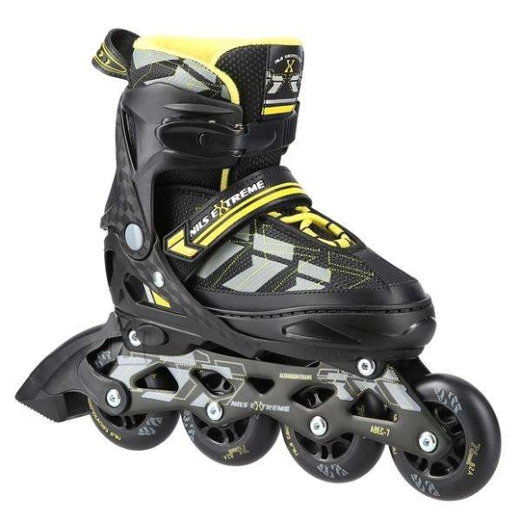 """Nils Extreme <p style=""""margin-left:0px; margin-right:0px; text-align:left"""">NA11002 Nils Extreme is a model of roller skates designed for beginners and intermediate enthusiasts of skating. It is a combination of interesting design and the highest quality materials ensuring high comfort of use.</p><br /> <br /> <p style=""""margin-left:0px; margin-right:0px; text-align:left"""">The boot is made of a synthetic leather, the velvet material, the MESH and the high density foam. This composition makes skating extremely comfortable. Moreover, the boot is ventilated. ABEC7 class bearings provide high quality traction.</p><br /> <br /> <p style=""""margin-left:0px; margin-right:0px; text-align:left"""">Soft wheels ensure good adhesion to the ground and they absorb all vibrations very well. The boot is equipped with a two-section buckle, Velcro and laces to ensure maximum safety while skating, and the brake made of the highest quality impact-resistant PP ensuring safe stop even at relatively high speeds.</p><br /> <br /> <p style=""""margin-left:0px; margin-right:0px; text-align:left"""">The size adjustment system makes it easy to adjust the size to a user's foot quickly, making that skates can be used many seasons!</p><br /><br />Fastening: Hook&Loop<br />Size: PU76 mm/82A (M 35-38)<br />Bearings: ABEC7<br />Frame material: Aluminium<br />Shell material: PP<br />Colour: Black-Yellow<br />Warranty: 24 months"""