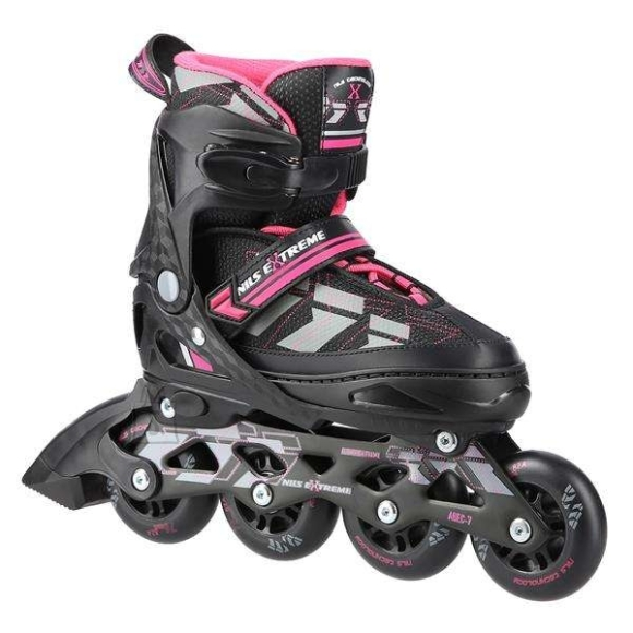 """Nils Extreme <p style=""""margin-left:0px; margin-right:0px; text-align:left"""">NA11002 Nils Extreme is a model of roller skates designed for beginners and intermediate enthusiasts of skating. It is a combination of interesting design and the highest quality materials ensuring high comfort of use.</p><br /> <br /> <p style=""""margin-left:0px; margin-right:0px; text-align:left"""">The boot is made of a synthetic leather, the velvet material, the MESH and the high density foam. This composition makes skating extremely comfortable. Moreover, the boot is ventilated. ABEC7 class bearings provide high quality traction.</p><br /> <br /> <p style=""""margin-left:0px; margin-right:0px; text-align:left"""">Soft wheels ensure good adhesion to the ground and they absorb all vibrations very well. The boot is equipped with a two-section buckle, Velcro and laces to ensure maximum safety while skating, and the brake made of the highest quality impact-resistant PP ensuring safe stop even at relatively high speeds.</p><br /> <br /> <p style=""""margin-left:0px; margin-right:0px; text-align:left"""">The size adjustment system makes it easy to adjust the size to a user's foot quickly, making that skates can be used many seasons!</p><br /><br />Fastening: Hook&Loop<br />Size: PU70 mm/82A (S 31-34)<br />Bearings: ABEC7<br />Shell material: PP<br />Colour: black-purple<br />Warranty: 24 months"""