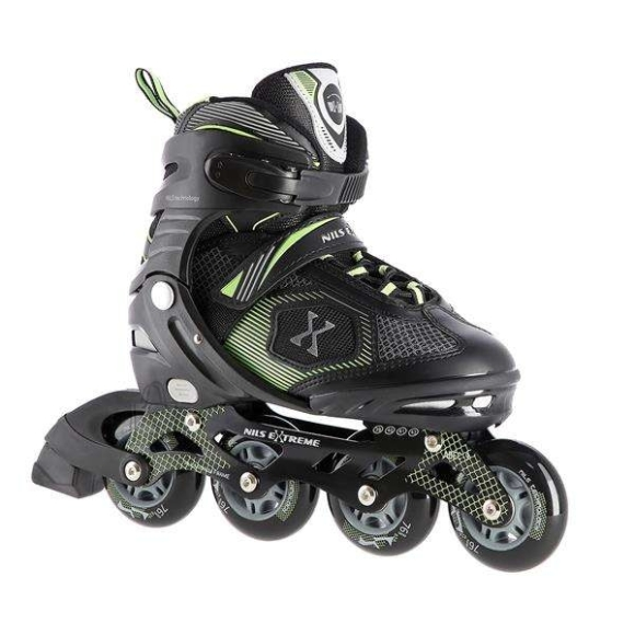 """Nils Extreme <p style=""""margin-left:0px; margin-right:0px; text-align:left"""">NA9080 Nils Extreme is a model of roller skates designed for beginners and intermediate enthusiasts of skating. It is a combination of interesting design and the highest quality materials ensuring high comfort of use.</p><br /> <br /> <p style=""""margin-left:0px; margin-right:0px; text-align:left"""">The boot is made of synthetic leather, EVA and velvet material, the MESH and high density foam. This composition makes skating extremely comfortable. Moreover, the boot is ventilated. ABEC9 class bearings provide high quality traction.</p><br /> <br /> <p style=""""margin-left:0px; margin-right:0px; text-align:left"""">Soft wheels ensure good adhesion to the ground and they absorb all vibrations very well. The boot is equipped with a two-section buckle, Velcro and laces to ensure maximum safety while skating, and the brake made of the highest quality impact-resistant PP ensuring safe stop even at relatively high speeds.</p><br /> <br /> <p style=""""margin-left:0px; margin-right:0px; text-align:left"""">The size adjustment system makes it easy to adjust the size to a user's foot quickly, making that skates can be used many seasons!</p><br /><br />Fastening: Hook&Loop<br />Size: PU70 mm/82A (S 31-34)<br />Bearings: ABEC7<br />Frame material: Aluminium<br />Shell material: PP high impact<br />Colour: Black-Green<br />Warranty: 24 months"""