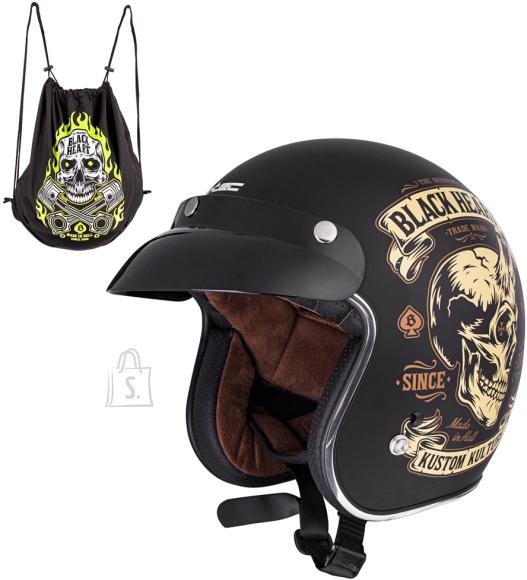 W-Tec Motorcycle Helmet W-TEC Kustom Black Heart -  Skull Horn  Black XS (53-54)