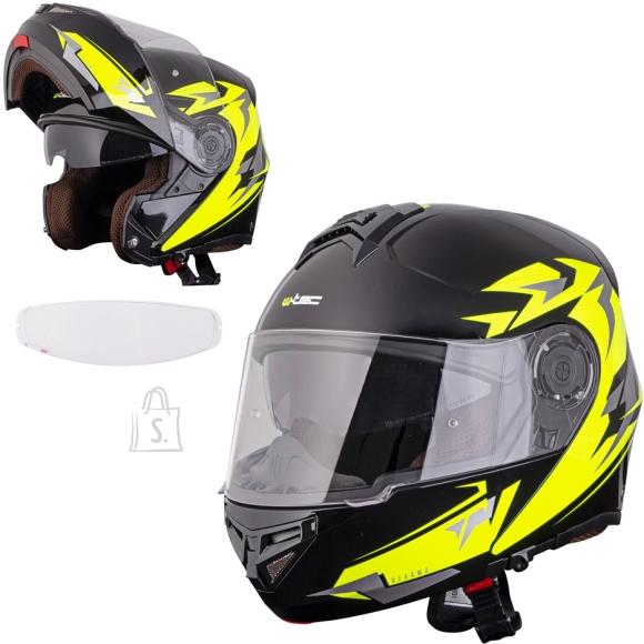 W-Tec Flip-Up Motorcycle Helmet W-TEC Vexamo PI Graphic w/ Pinlock - Black Graphic S(55-56)
