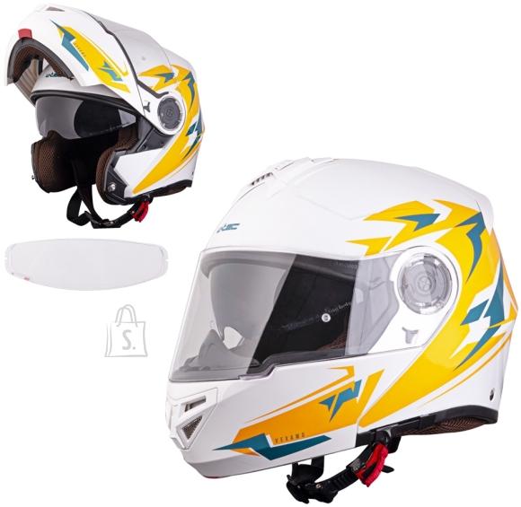 W-Tec Flip-Up Motorcycle Helmet W-TEC Vexamo PI Graphic w/ Pinlock - White Graphic M (57-58)