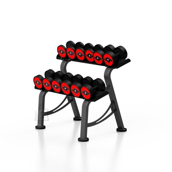 Marbo Sport Rubberized dumbbells set with rack 5-17,5 kg S Marbo MP-HSGk5-S-k1