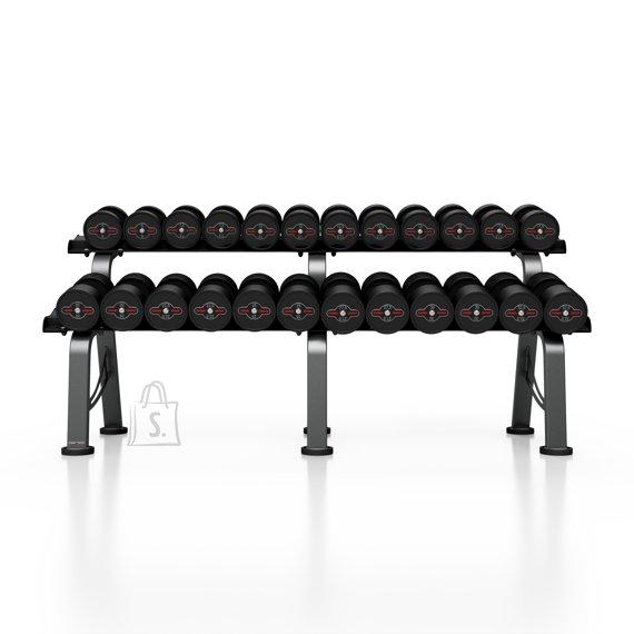 Marbo Sport Rubberized Dumbbells Set with Rack Marbo, 5-32.5 kg - Black