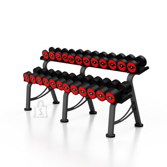 Marbo Sport Rubberized Dumbbells Set with Rack Marbo, 5-32.5 kg - Red