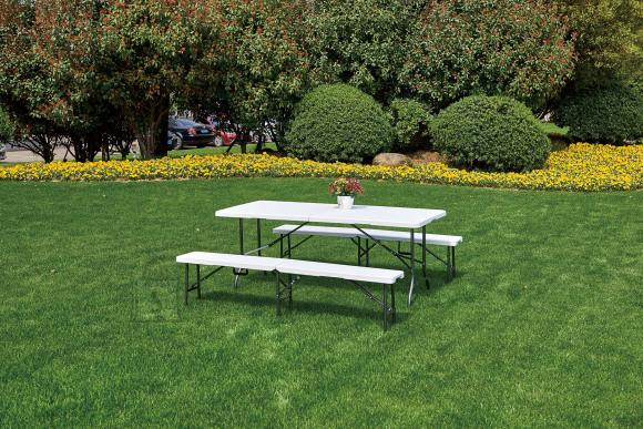 Kokkupandava laua ja pinkide komplekt