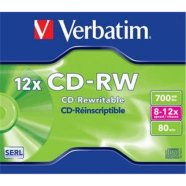 Verbatim Verbatim CD-RW 80/700MB 12X SCRATCH RESISTANT jewel box - 43148