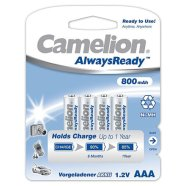 Camelion Camelion AlwaysReady Rechargeable Batteries Ni-MH AAA (R03), 800 mAh, 4-pack