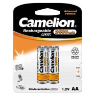 Camelion Rechargeable Batteries Ni-MH AA (R06), 2500 mAh, 2-pack, + battery cases for 4 batteries (NH-AA2500BP2)