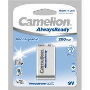 Camelion Camelion AlwaysReady Rechargeable Batteries Ni-MH 9V Block, 200 mAh, 1-pack