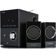MicroLab Microlab M-223U 2.1 Speakers/ 17W RMS (4Wx2+9W)/ Wooden/ FM Radio/ USB, SD Card Slots/ Plays MP3, Radio without PC
