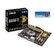 Asus ASUS B85M-G / Intel B85 / 4 DIMM, Max. 32 GB, DDR3 1600 Non-ECC, Dual channel / Integrated Graphics Processor : HDMI/DVI/RGB ports / Expansion: 1x PCIe 3.0/2.0 x16, 2x PCIe 2.0 x1 / Storage: 4 x SATA 6.0 Gb/s, 2 x SATA 3.0 Gb/s / Realtek Gigabit LAN / ALC887 8-Ch HD / 4 x USB 3.0 / 8 x USB 2.0 / mATX