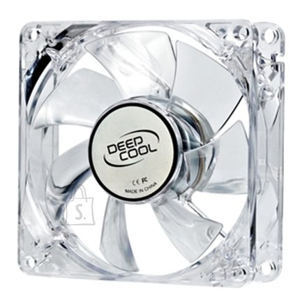 Deepcool 80 mm case ventilation fan, transparent with blue LED, 3Pin/2pin;