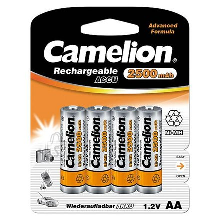 Camelion Camelion Rechargeable Batteries Ni-MH AA (R06), 2500mAh, 4-pack, incl. battery cases for 4x accus/batteries