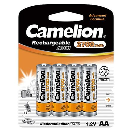 Camelion Rechargeable Batteries Ni-MH AA (R06), 2700 mAh, 4-pack + battery cases for 4 batteries
