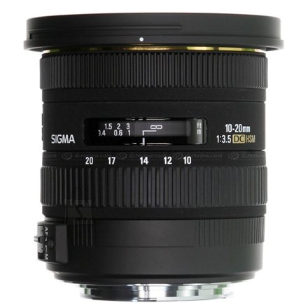 Sigma Sigma EX 10-20mm F3.5 DC HSM for Nikon, 13 Elements in 10 Groups, Angle of View: 102.4-63.8 degrees, 7 Blades, Filter size 82mm, Minimum Focusing Distance: 24cm
