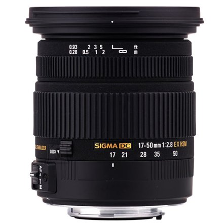 Sigma Sigma EX 17-50mm F2.8 DC OS HSM for Canon, 17 Elements in 13 Groups, Angle of View: 72.4-27.9 degrees, 7 Blades, Filter size 77mm, Minimum Focusing Distance: 28cm.