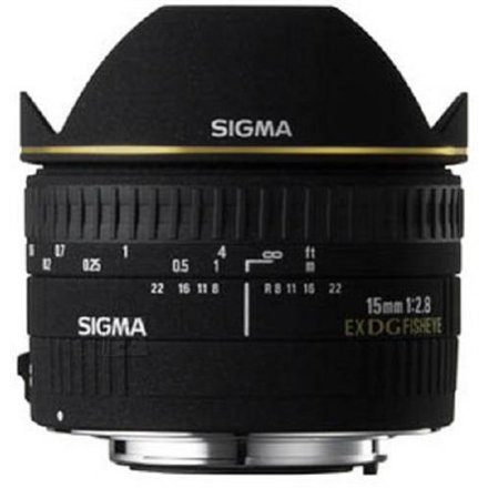Sigma Sigma EX 15mm F2.8 DG Diagonal Fisheye for Nikon, 7 Elements in 6 Groups, 180 degrees angle of view, 7 Blades, minimum focusing distance: 15cm