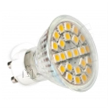 24 SMD LED bulb with  GU10 mounting. Warm wide light Consumption: 3W Luminous Intencity: 225 lm Compares to 40 W halogen